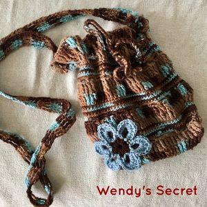 💞 Handmade Knitted Boho Crossbody Flower Handbag